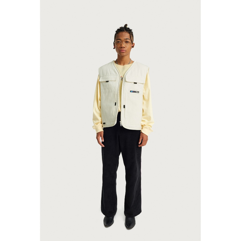 FUZZ CANVAS VEST cream