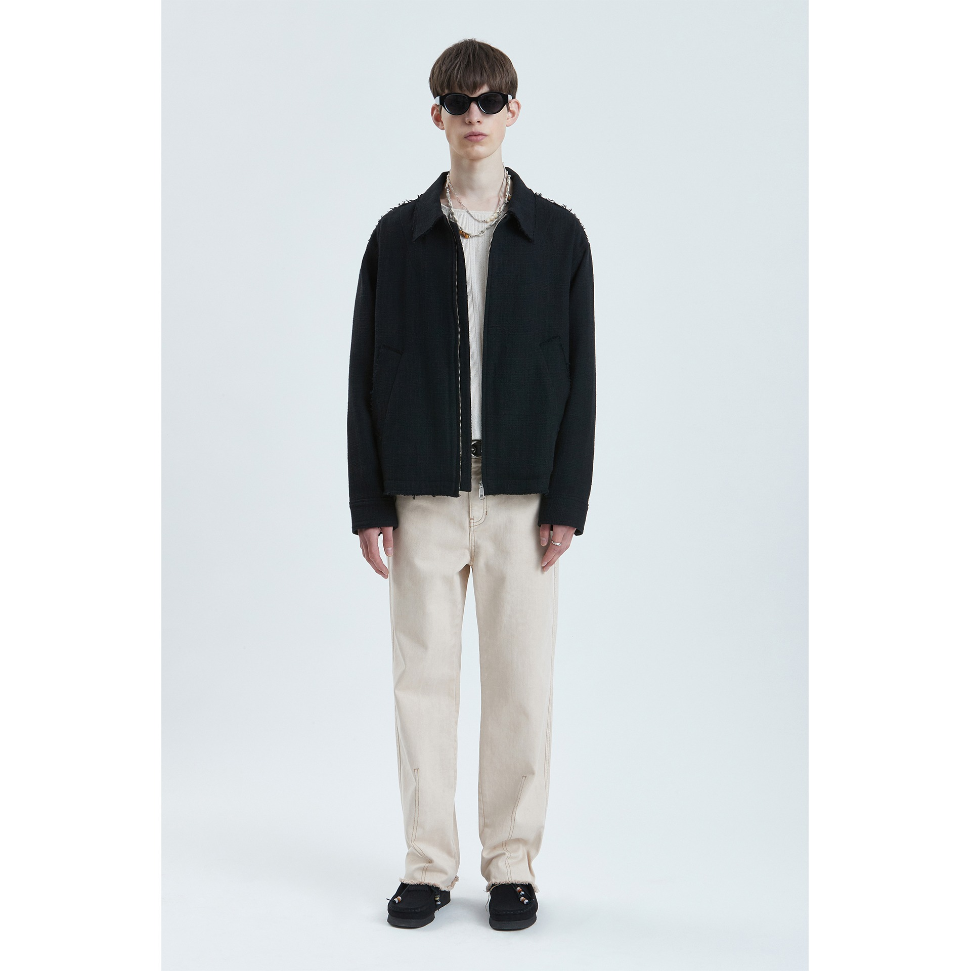 LIFUL CUT-OFF TWEED JACKET black