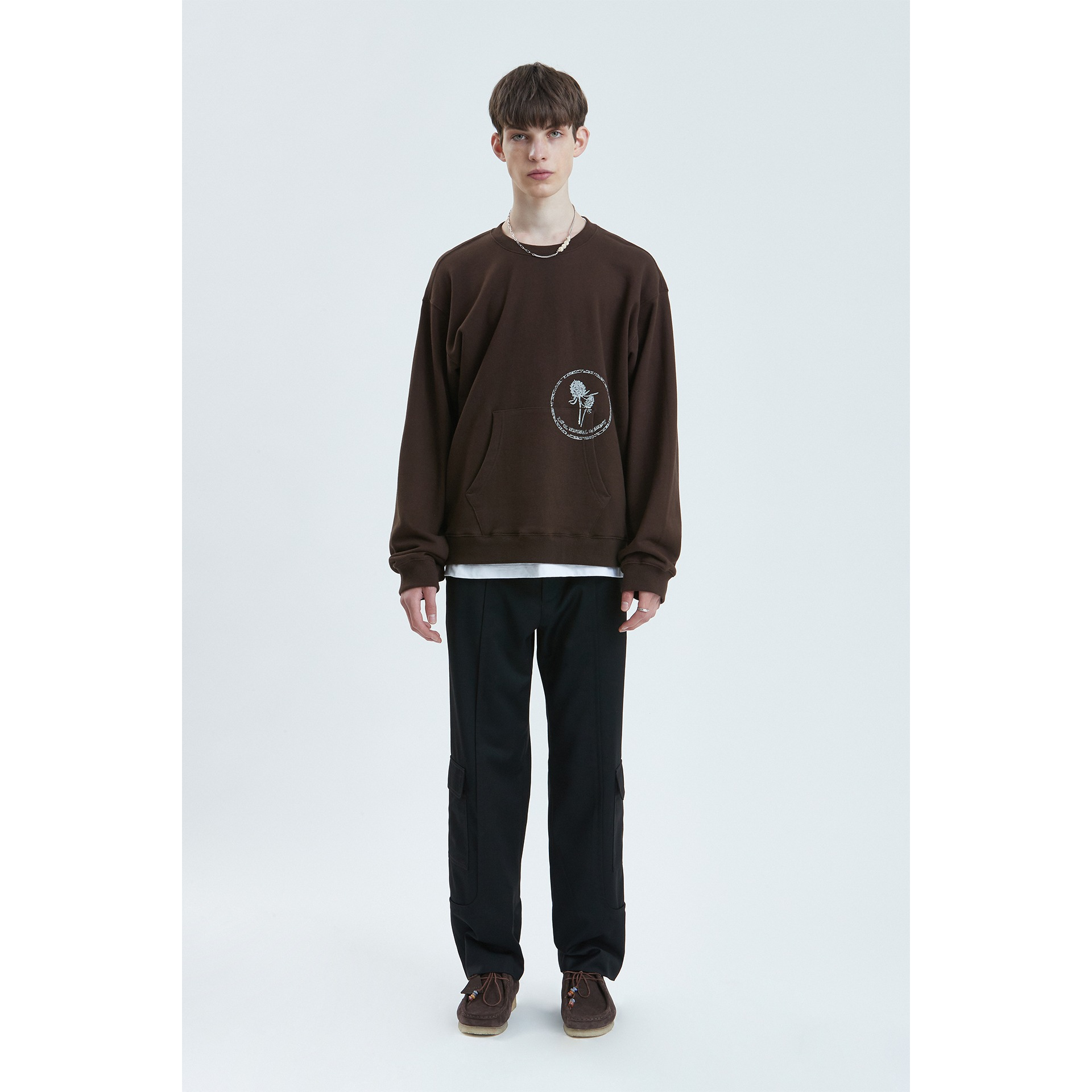 LIFUL STAMP POCKET SWEATSHIRT dark brown