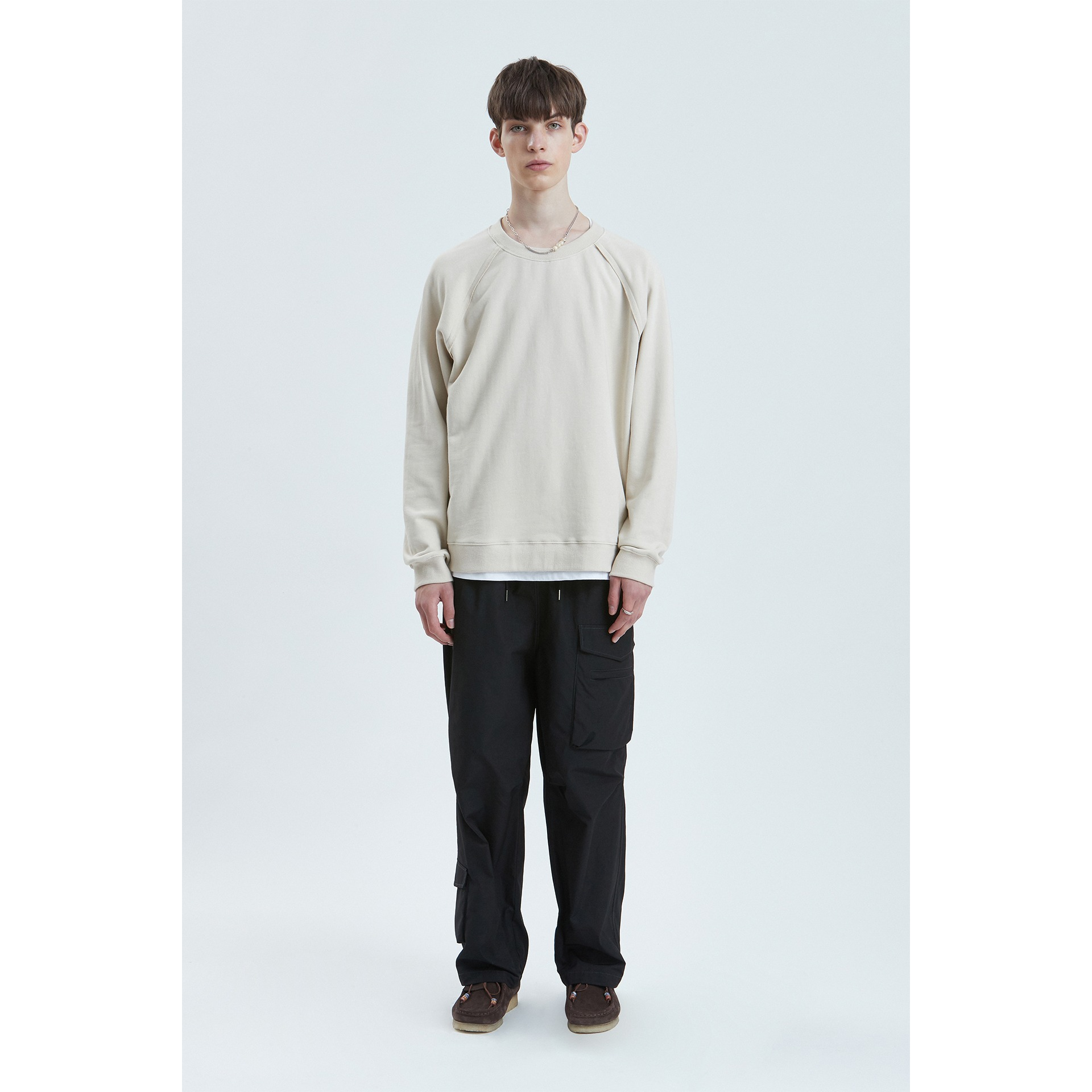 LIFUL SEAM OUT RAGLAN SWEATSHIRT sand beige