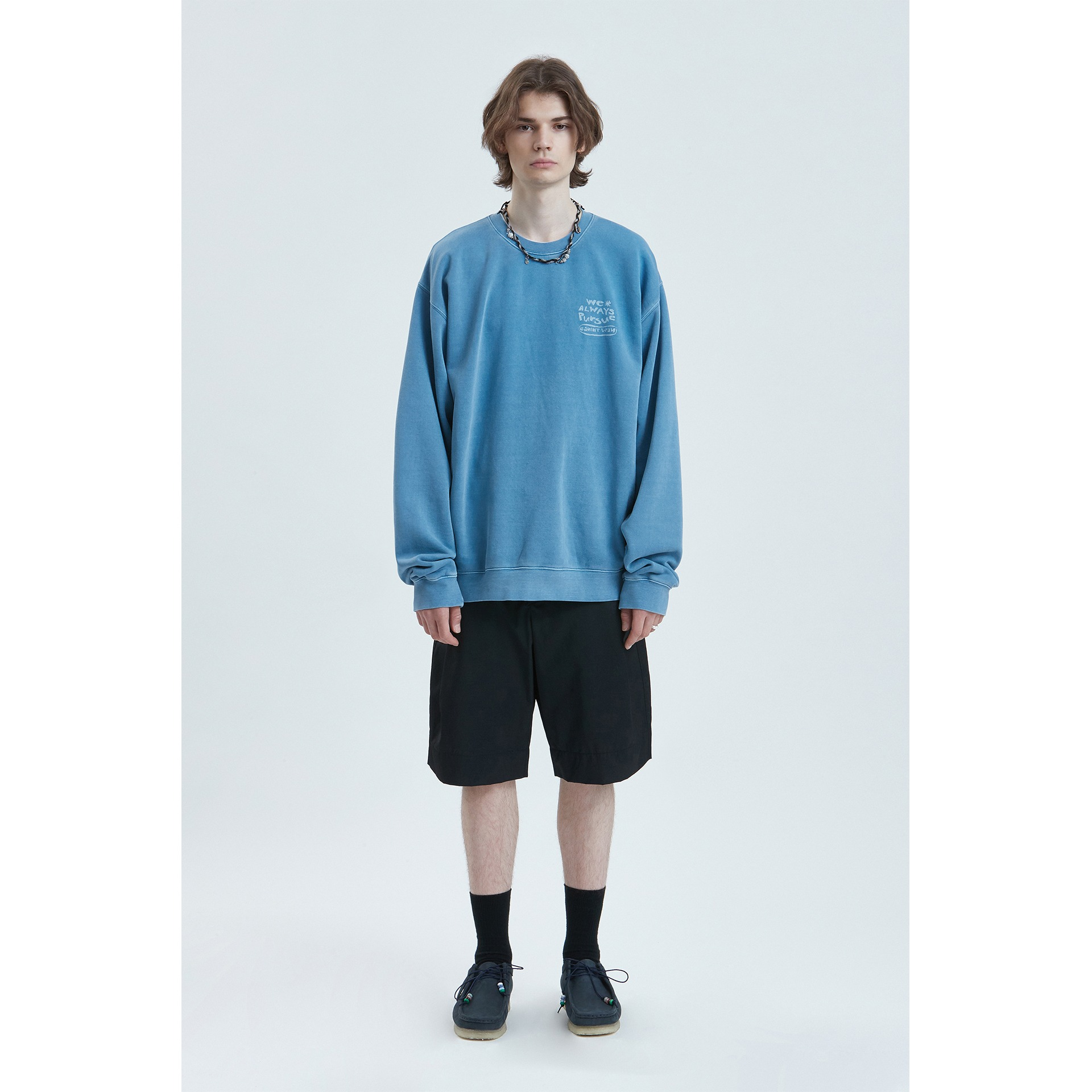 LIFUL P-DYED HANDWRITTEN SWEATSHIRT blue