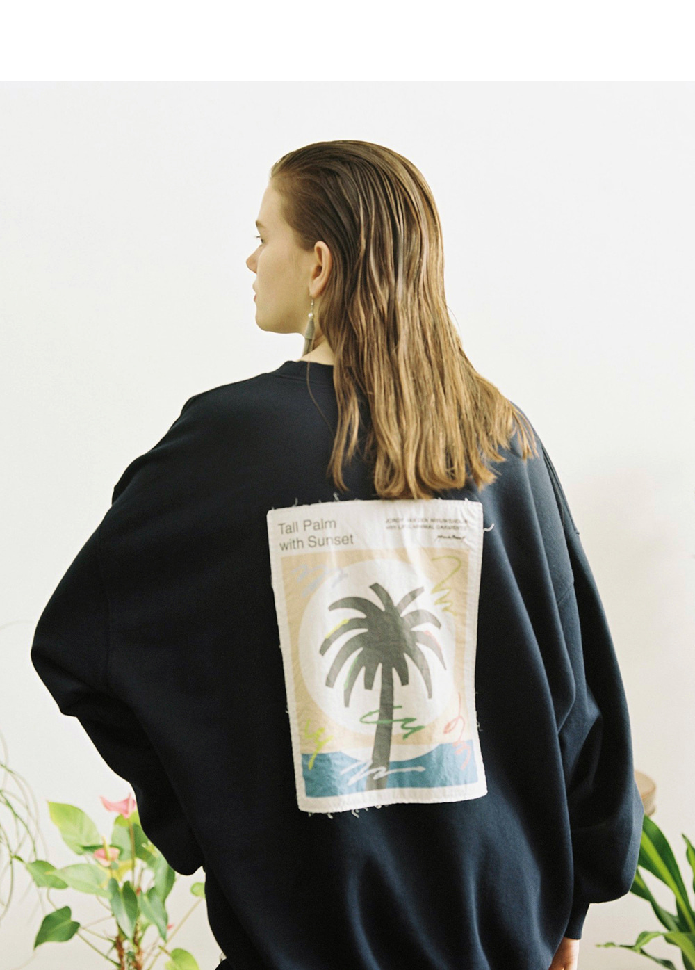 LIFUL X JORDY PALMTREE PATCH SWEATSHIRT navy