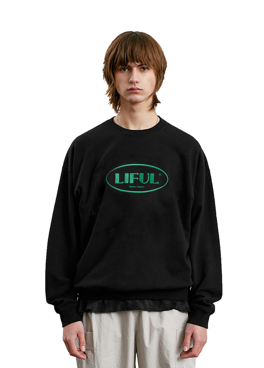 LIFUL OVAL LOGO SWEATSHIRT black