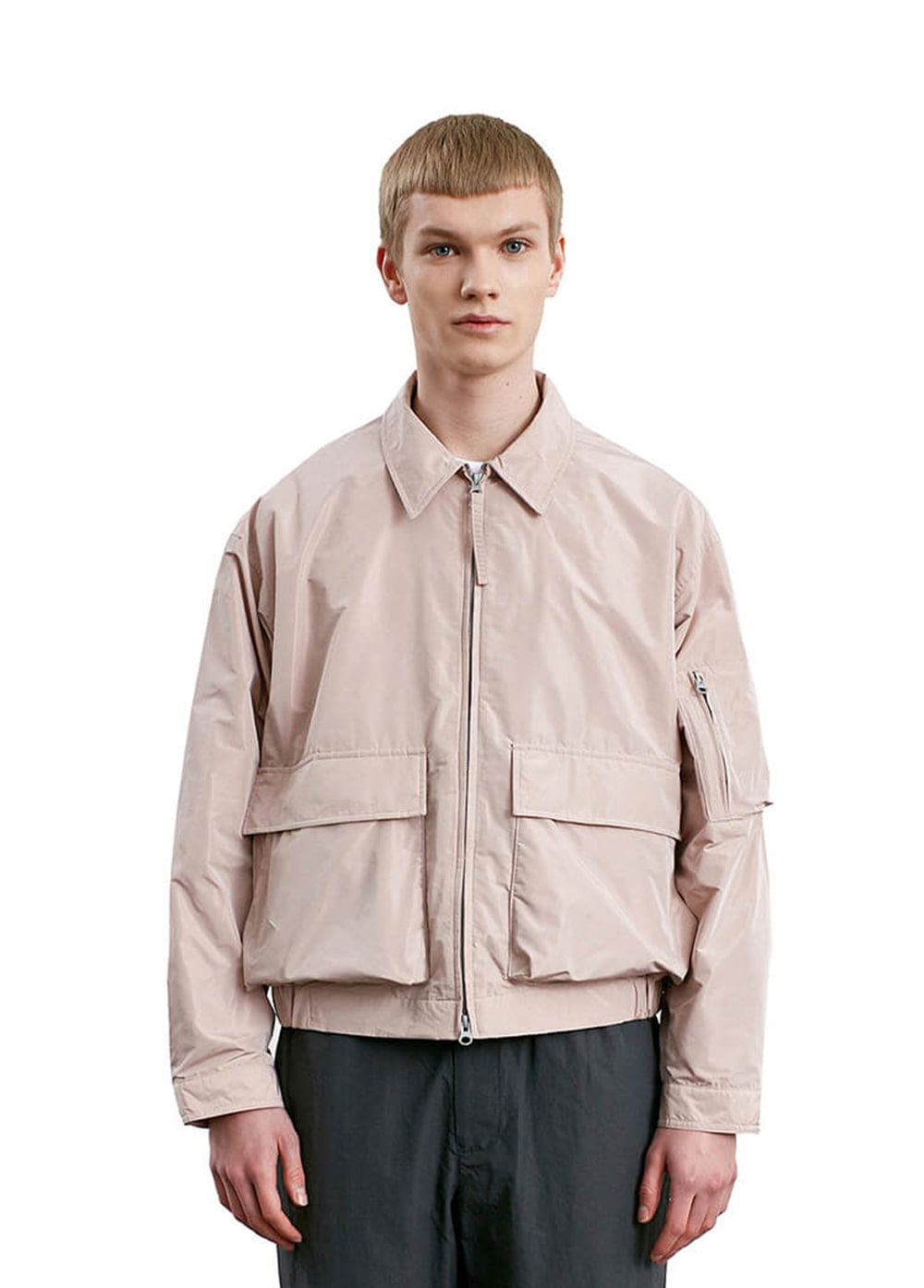 2 TONE MEMORY ZIP-UP JACKET coral