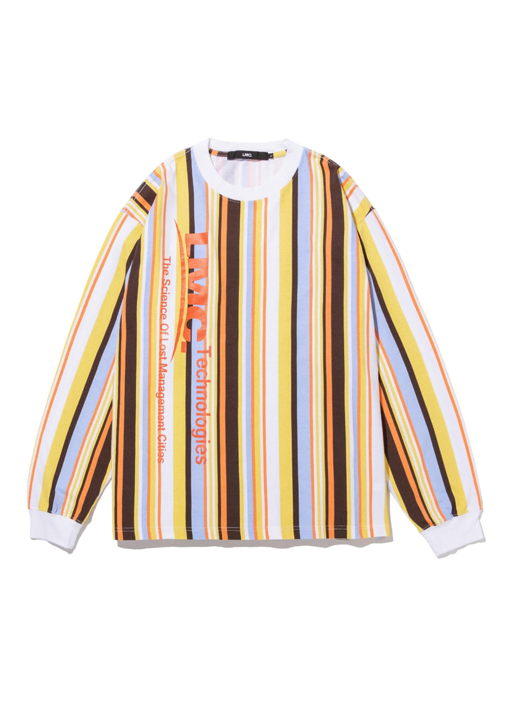LMC VERTICAL MULTI STRIPE LONG SLV TEE yellow