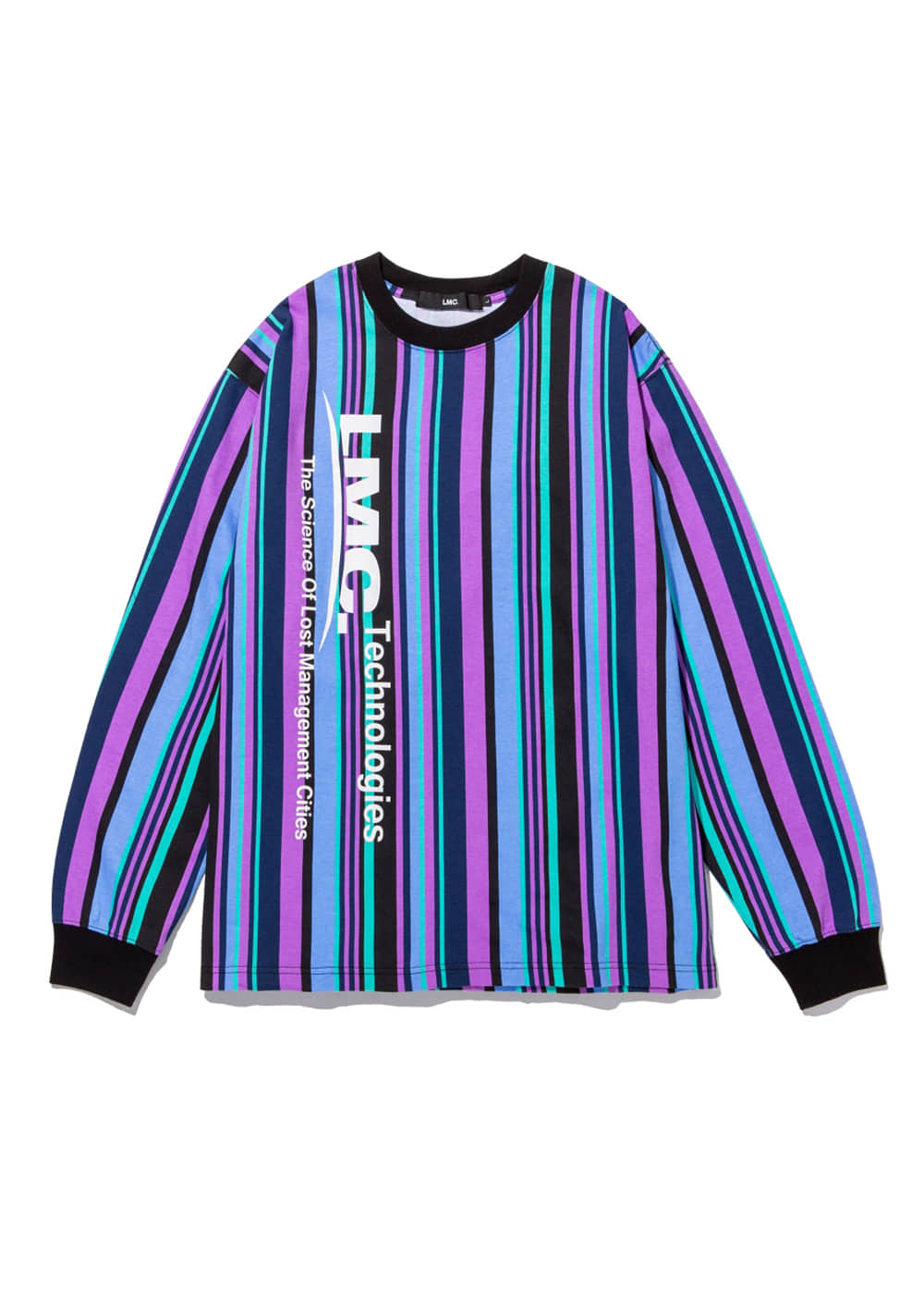 LMC VERTICAL MULTI STRIPE LONG SLV TEE blue