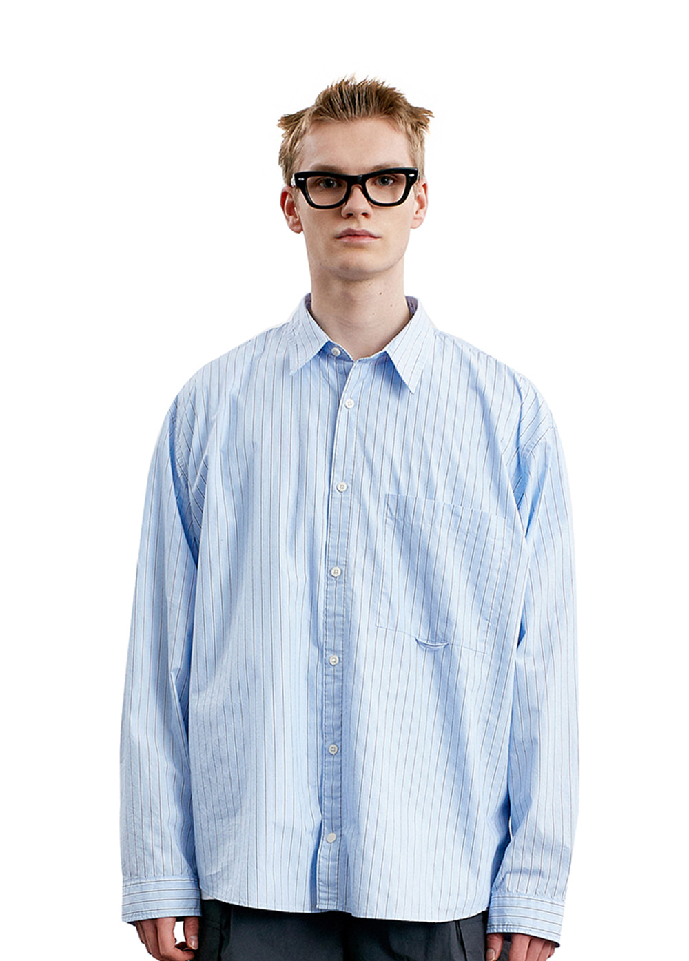 CLASSIC POCKET SHIRTS blue stripe