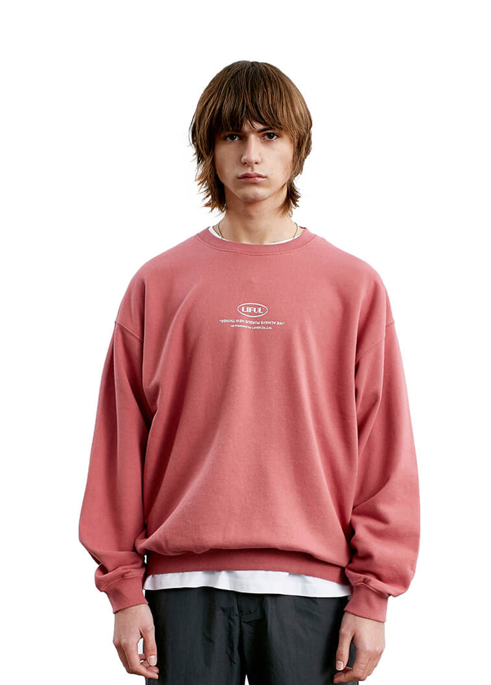 LIFUL MINI OVAL LOGO SWEATSHIRT pink