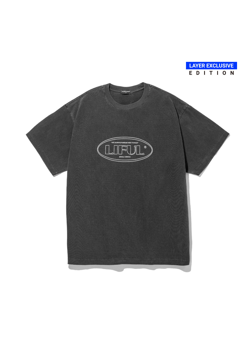 P-DYED LINE OVAL LOGO TEE black
