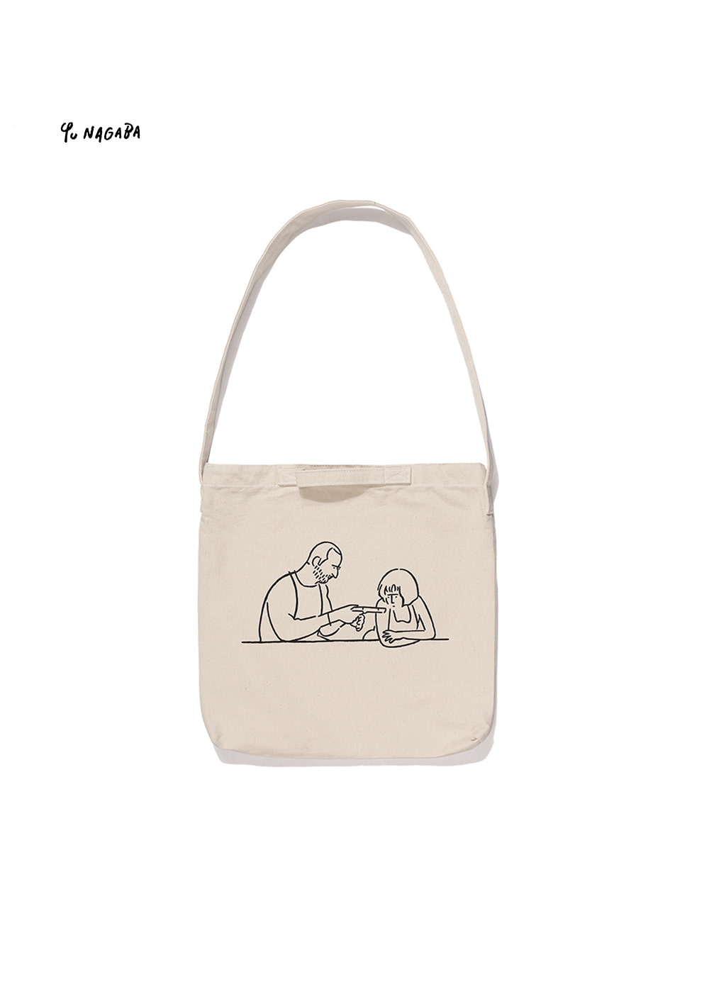 YU NAGABA - MAN AND GIRL TWO-WAY BAG neutral beige