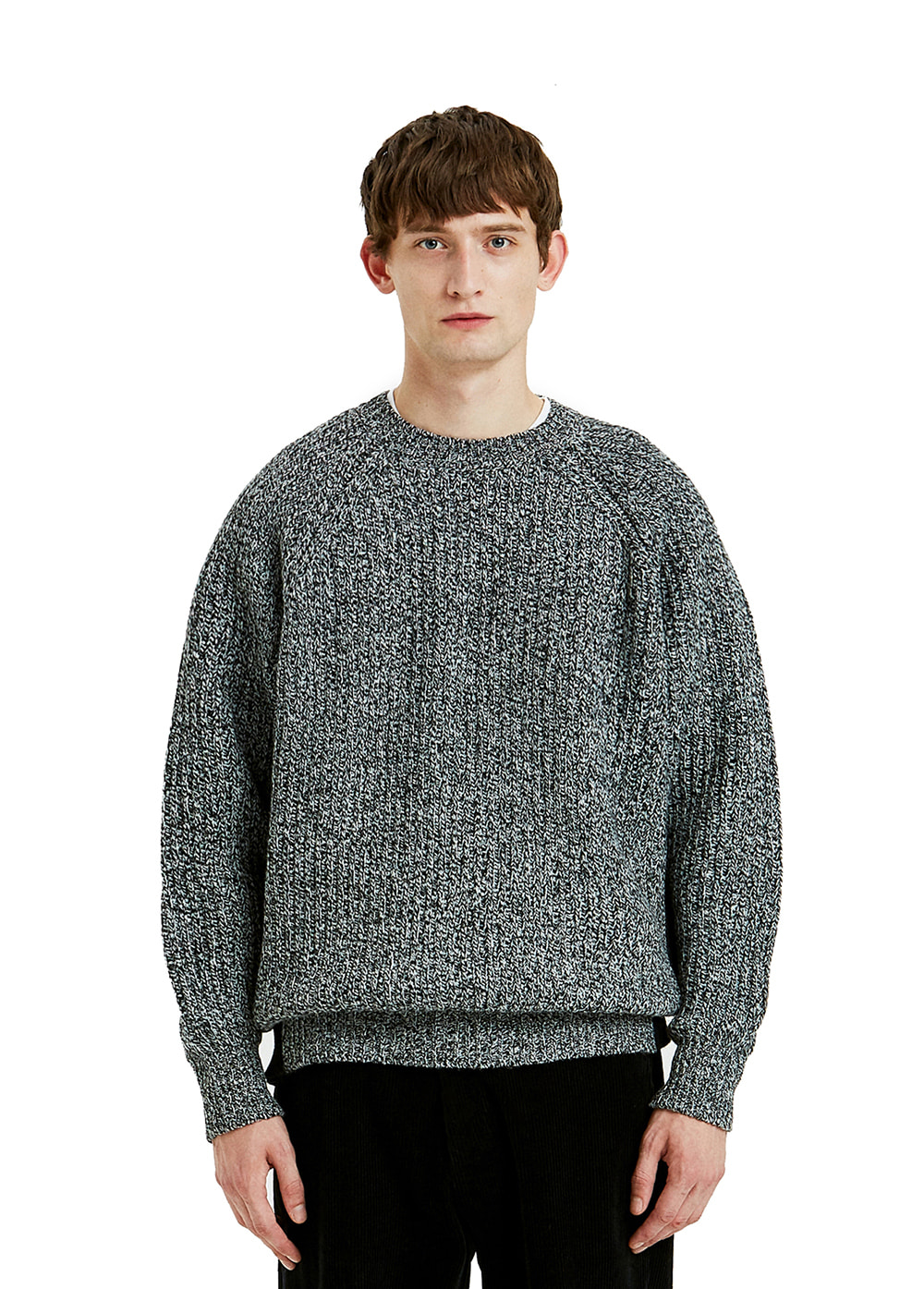 TWO-TONE COLOR BLOCK KNIT SWEATER heather black