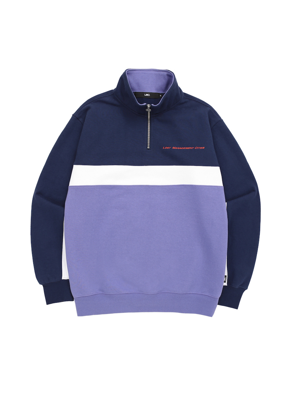 LMC TRI COLOR QUARTER ZIP SWEATSHIRT navy