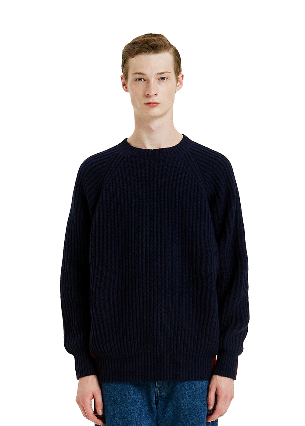 TWO-TONE COLOR BLOCK KNIT SWEATER navy