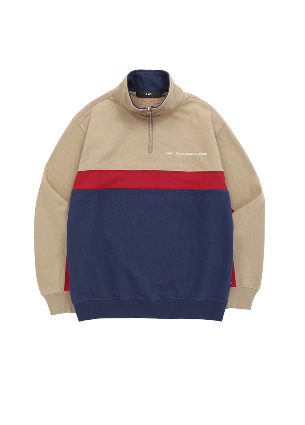 LMC TRI COLOR QUARTER ZIP SWEATSHIRT beige