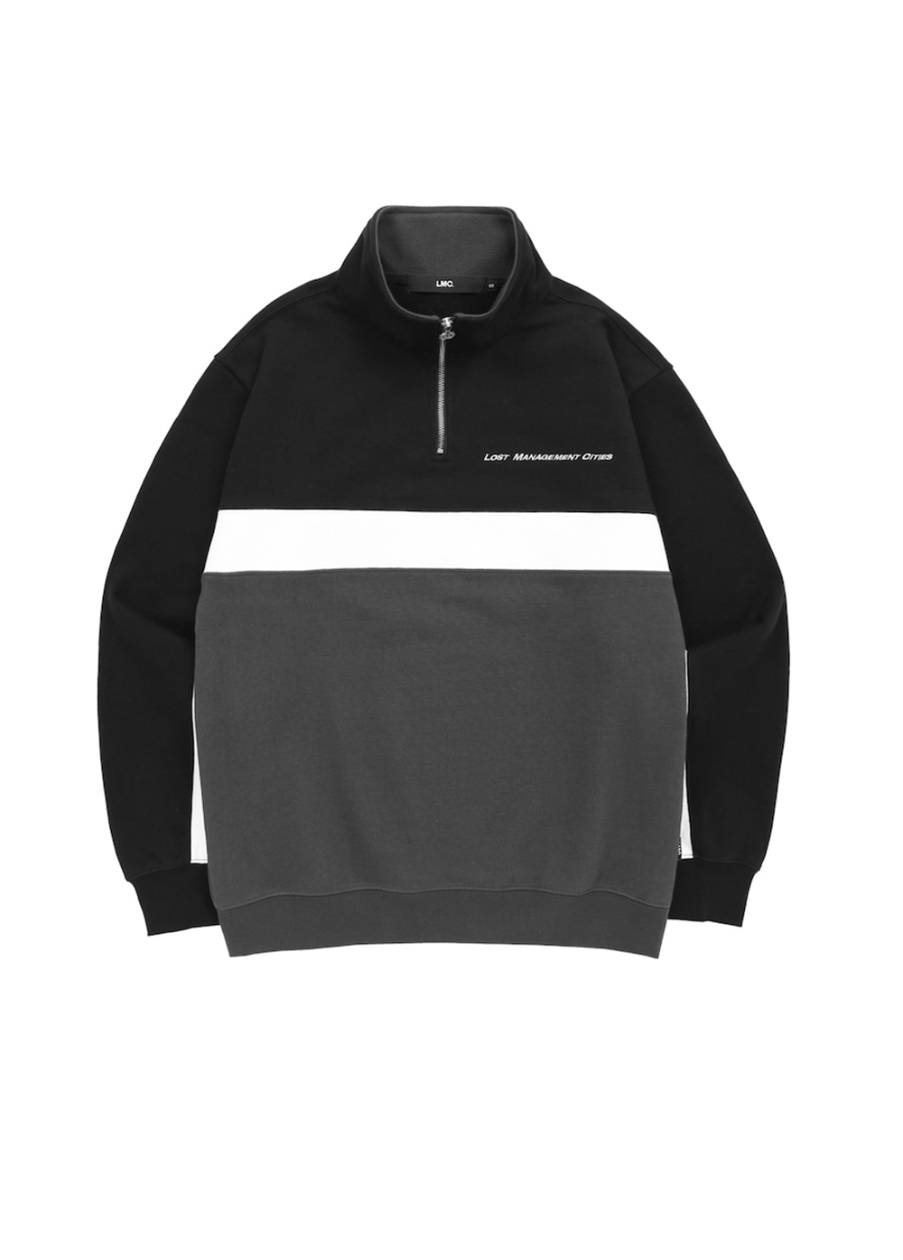 LMC TRI COLOR QUARTER ZIP SWEATSHIRT black