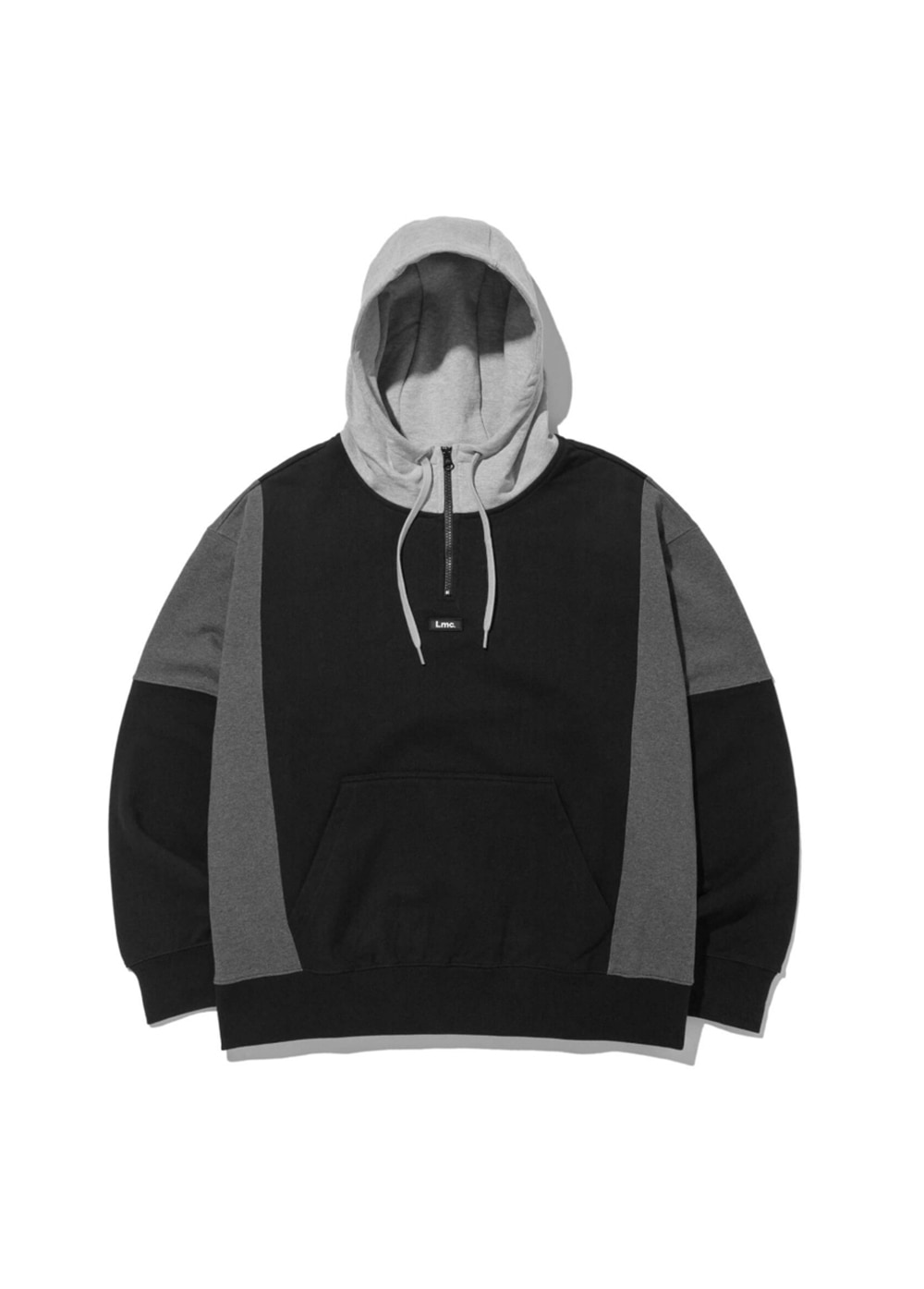 LMC QUARTER ZIP-UP OVERSIZED HOODIE black