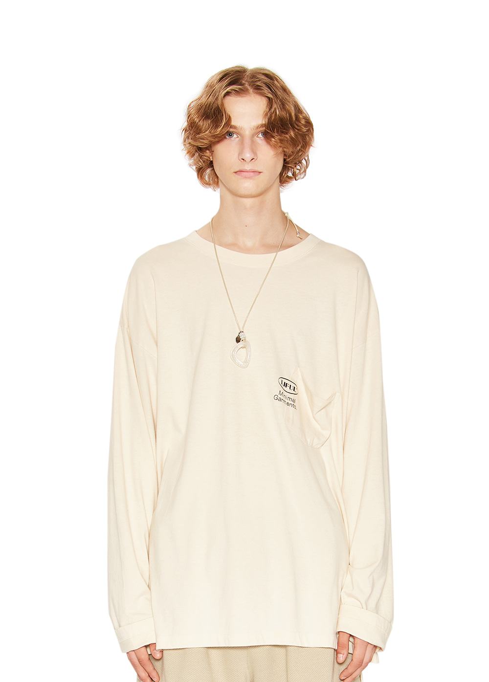 OVAL POCKET LONG SLEEVE TEE ivory