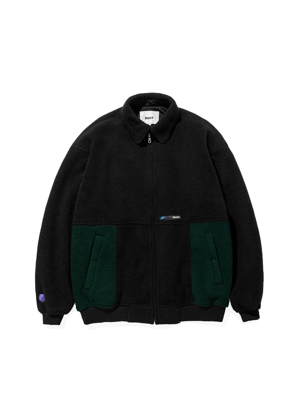 FUZZ FLEECE HARRINGTON JACKET black