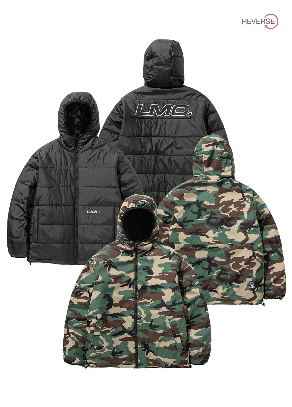 LMC THINSULATE REVERSIBLE HOODED JACKET bk/ca