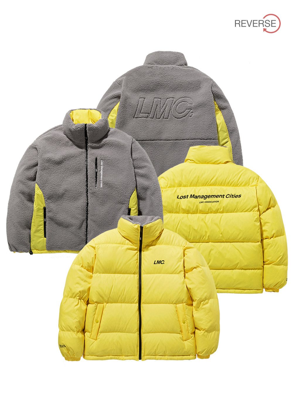 LMC BOA FLEECE REVERSIBLE DOWN PARKA yl/gy