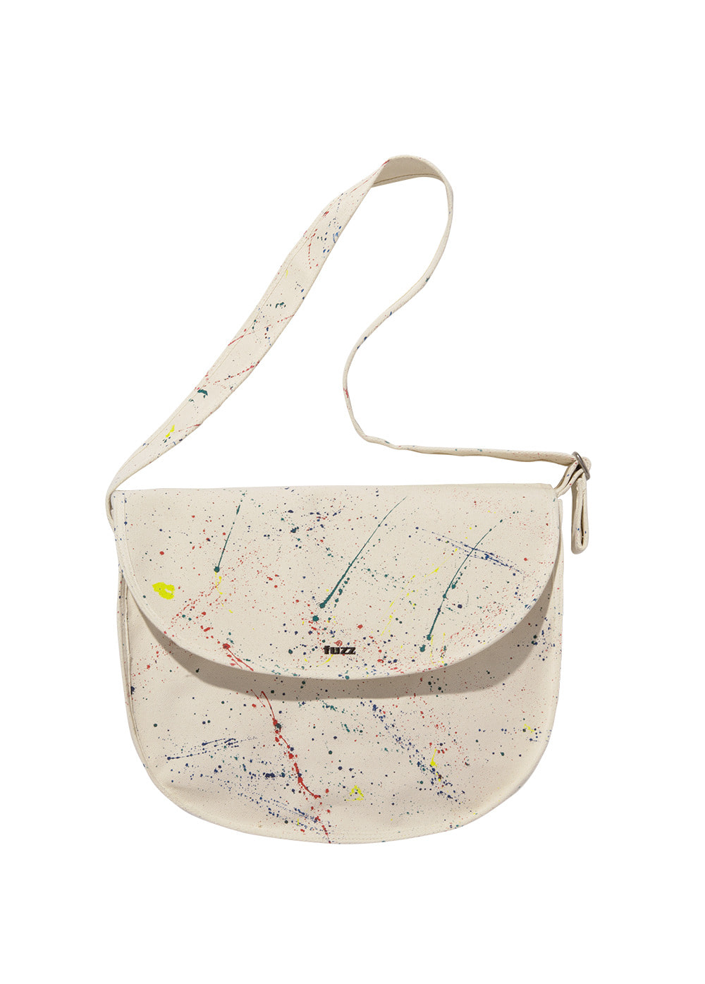 FUZZ CANVAS PAINT SPLATTER MESSENGER BAG ivory