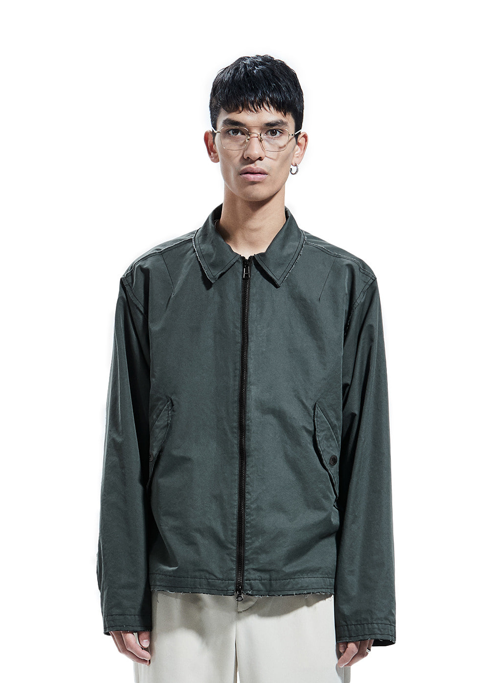 CUT-OFF COLLAR BLOUSON charcoal