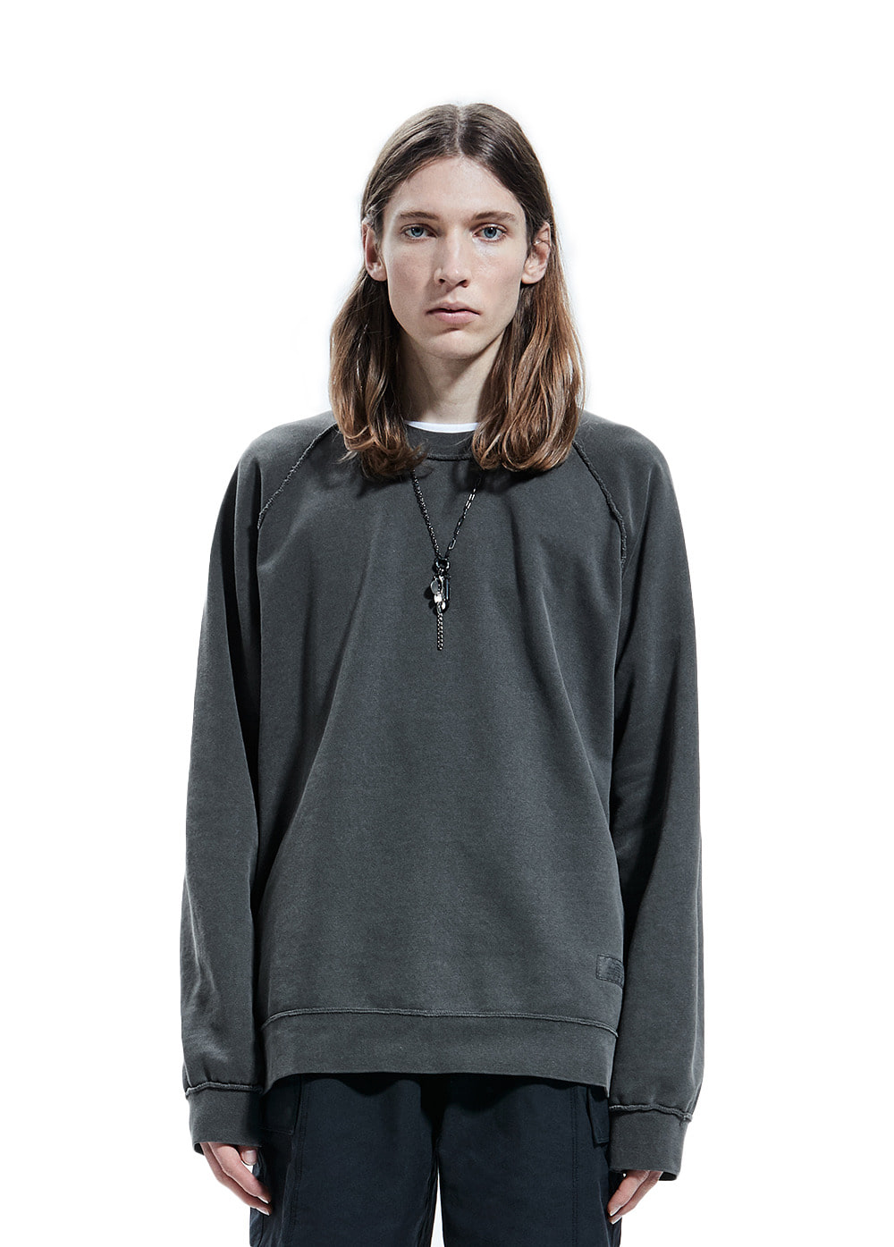 P-DYED RAGLAN SWEATSHIRT charcoal