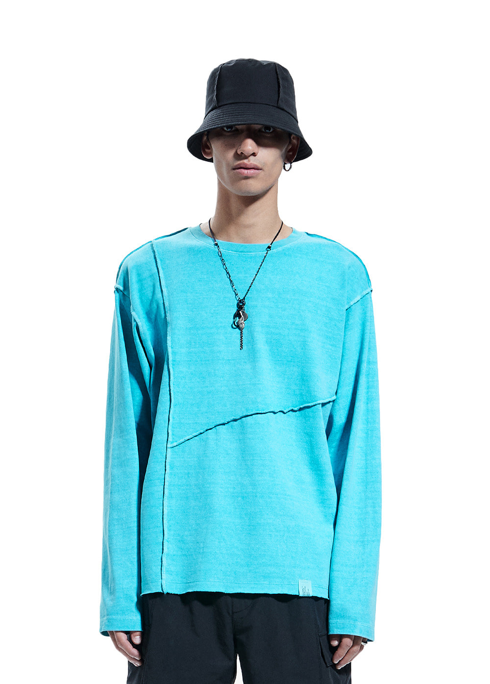 SEAM OUT P-DYED LONG SLEEVE TEE powder blue