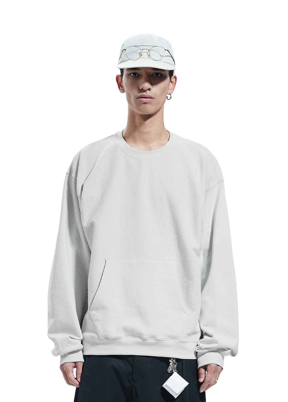 REVERSE POCKET SWEATSHIRT powder gray