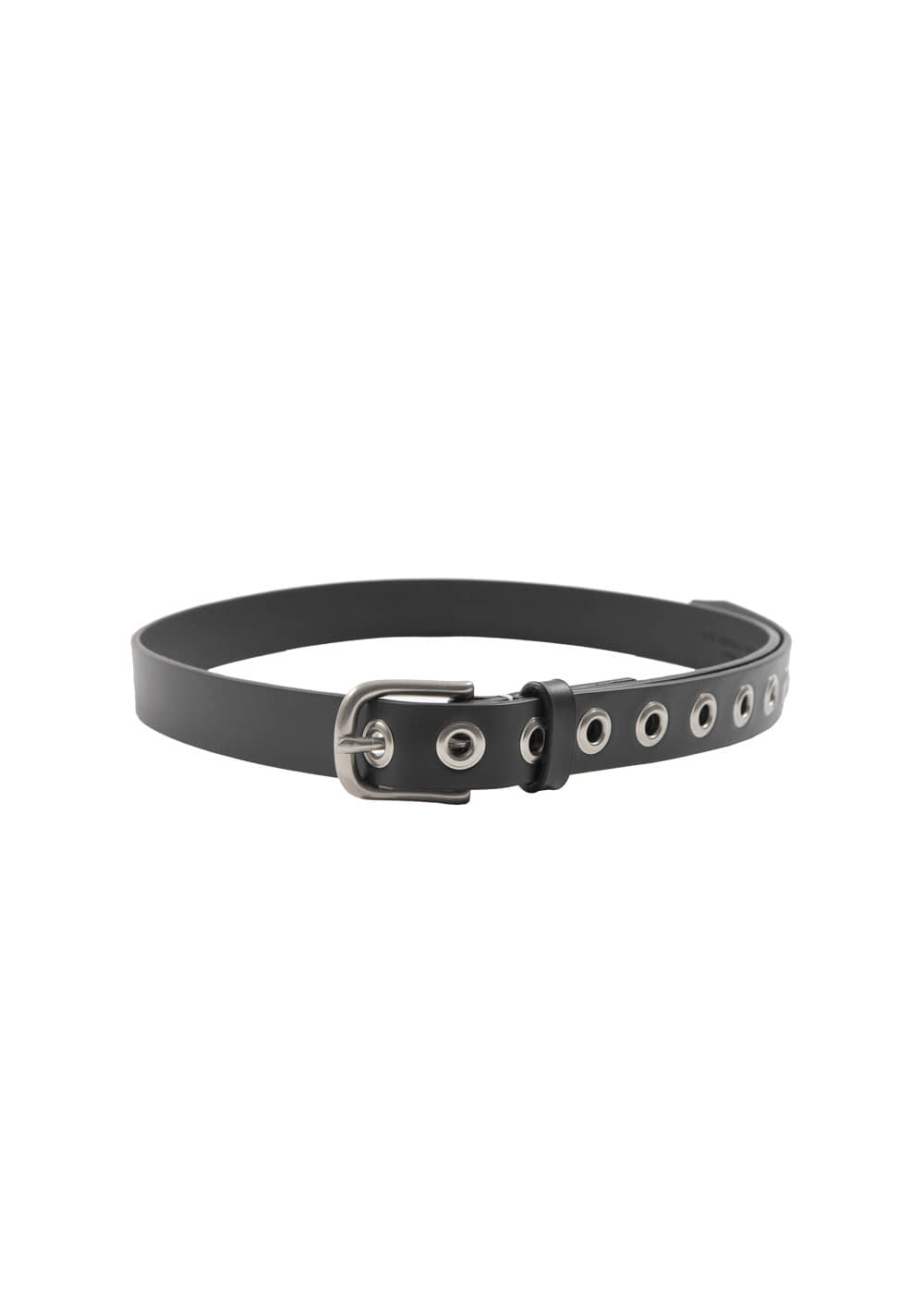 EYELET LEATHER BELT black