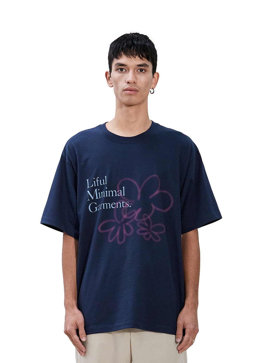 SPREAD FLOWER TEE navy