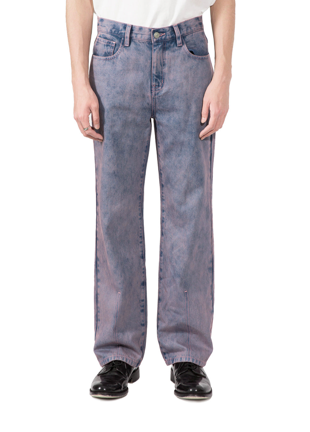 TWO TONE STRAIGHT DENIM PANTS pink