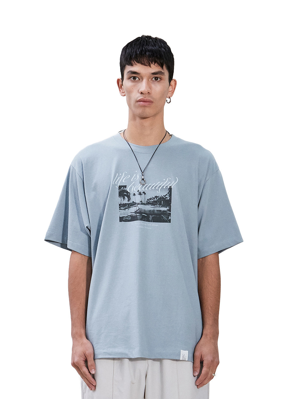 LAPILI BAY GRAPHIC TEE blue gray
