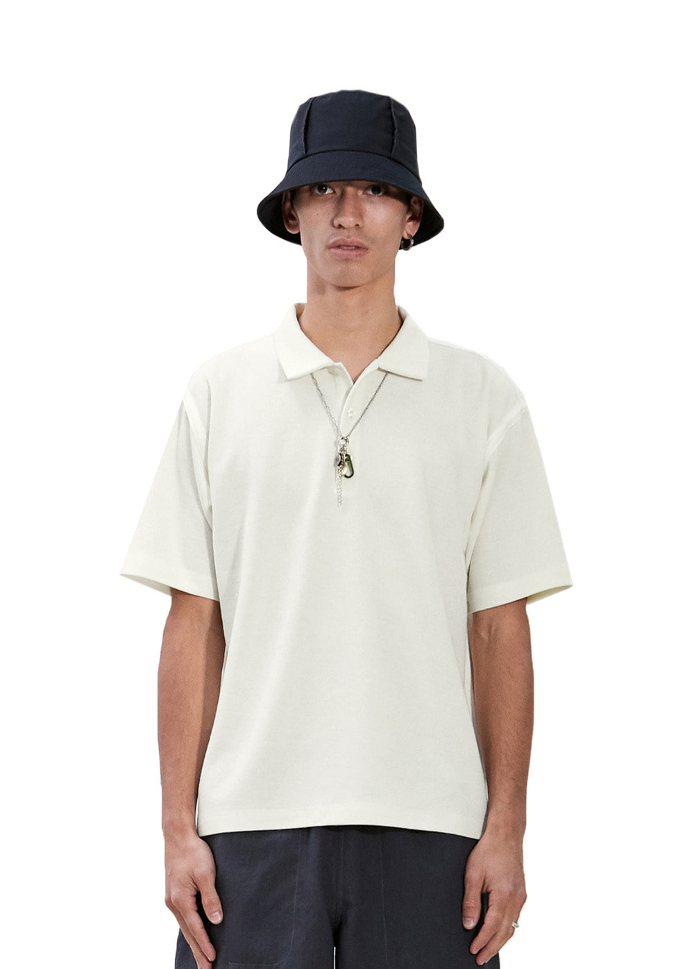 TAPED SEAM SHORT SLEEVE PIQUE SHIRT ivory