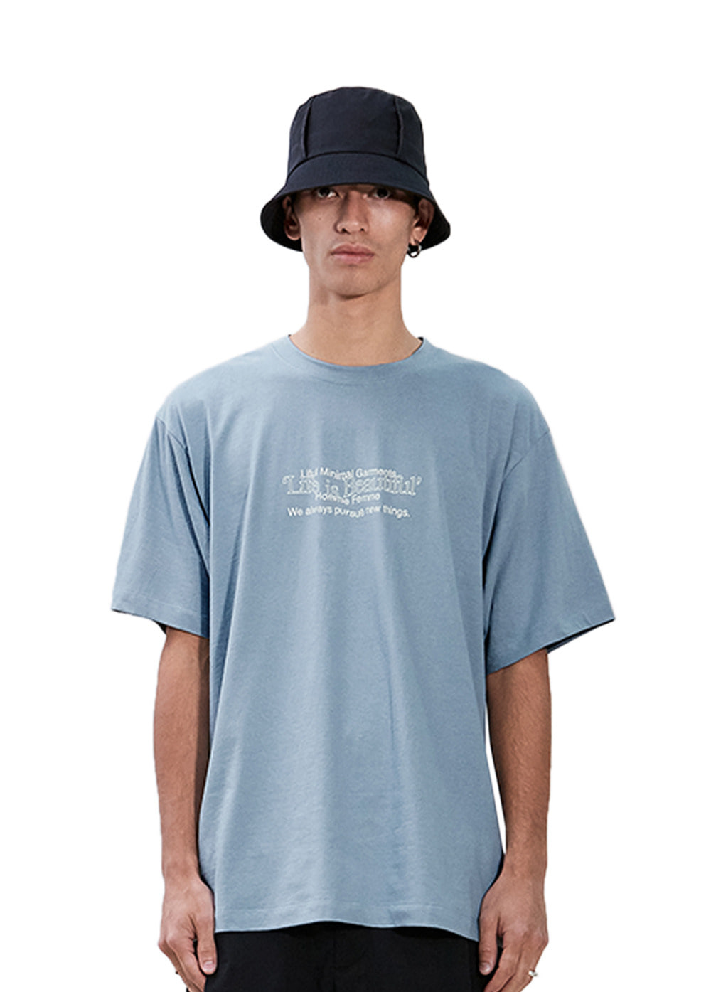 WAVY SLOGAN LOGO TEE blue gray