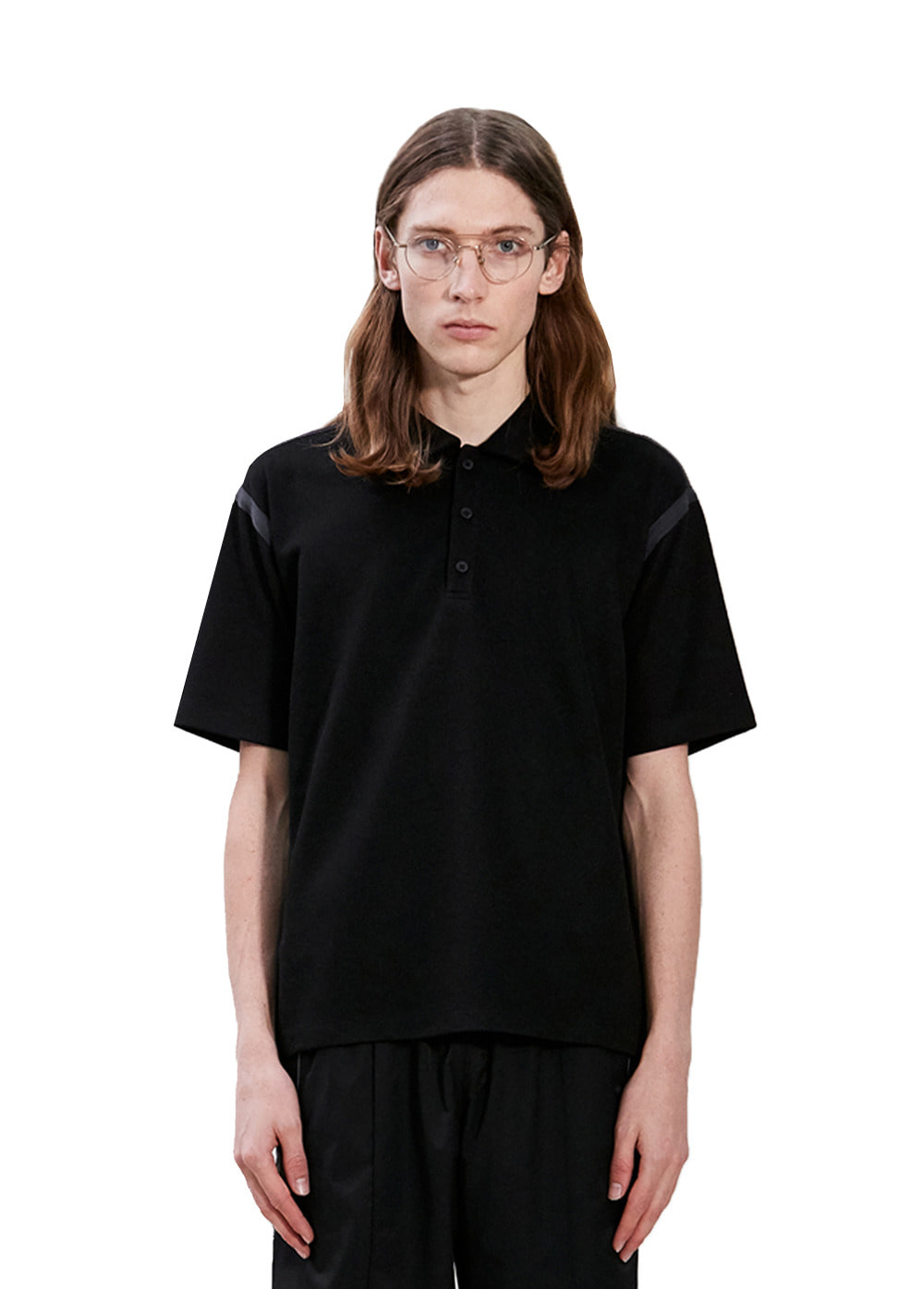 TAPED SEAM SHORT SLEEVE PIQUE SHIRT black