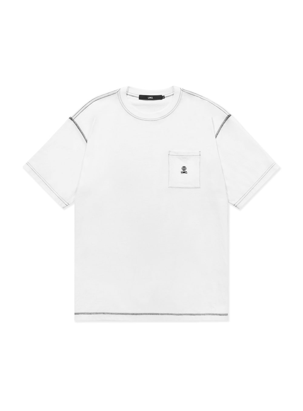 LMC CONTRAST STITCH POCKET TEE white