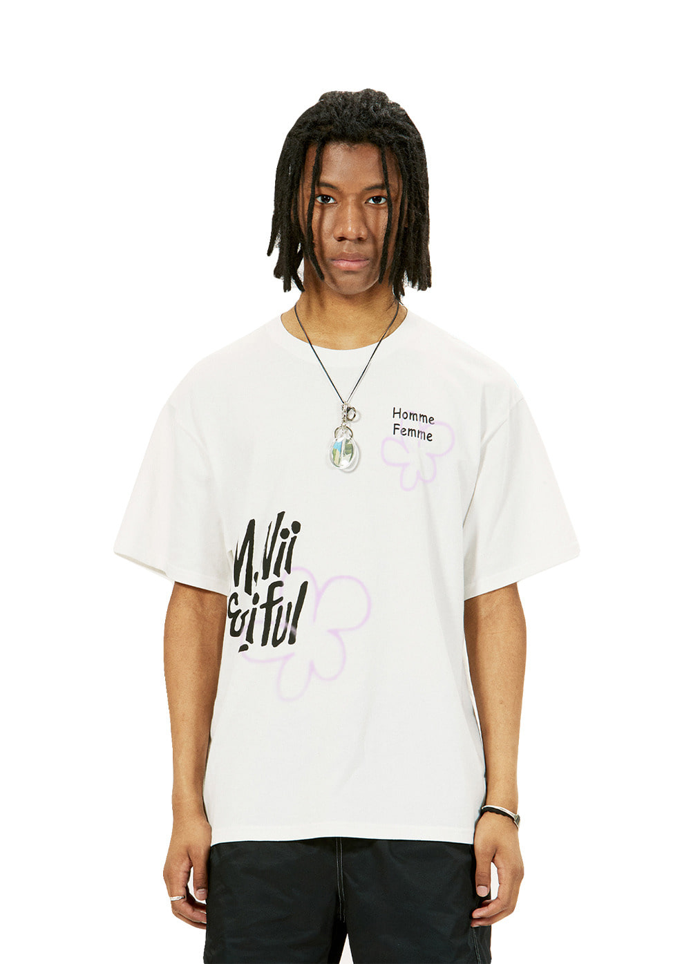 LIFUL X M.NII SPREAD LOGO TEE snow white