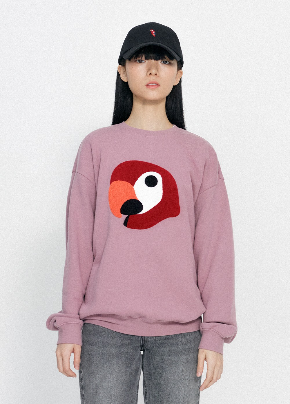 KANCO BIG LOGO SWEATSHIRT gray pink