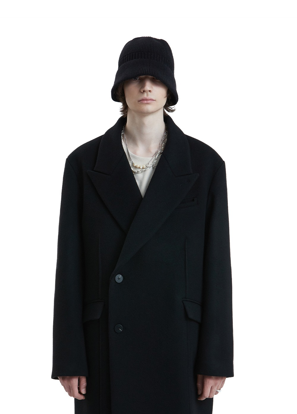 LIFUL CUT-OFF DOUBLE BREASTED COAT black