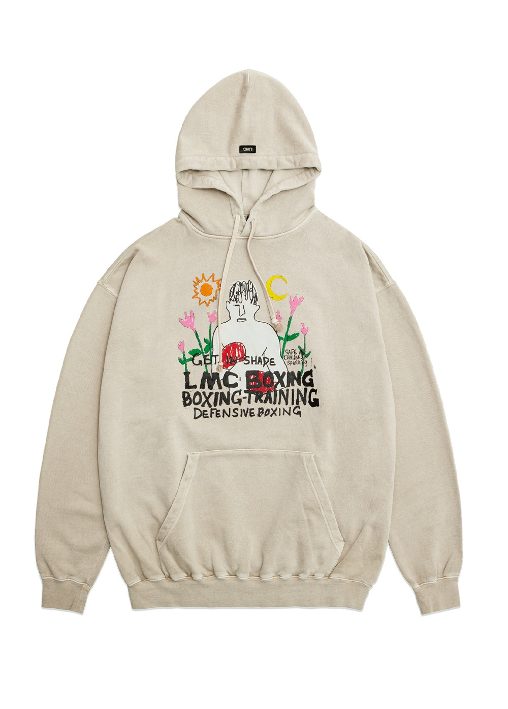 LMC OVERDYED BOXING OVERSIZED HOODIE beige