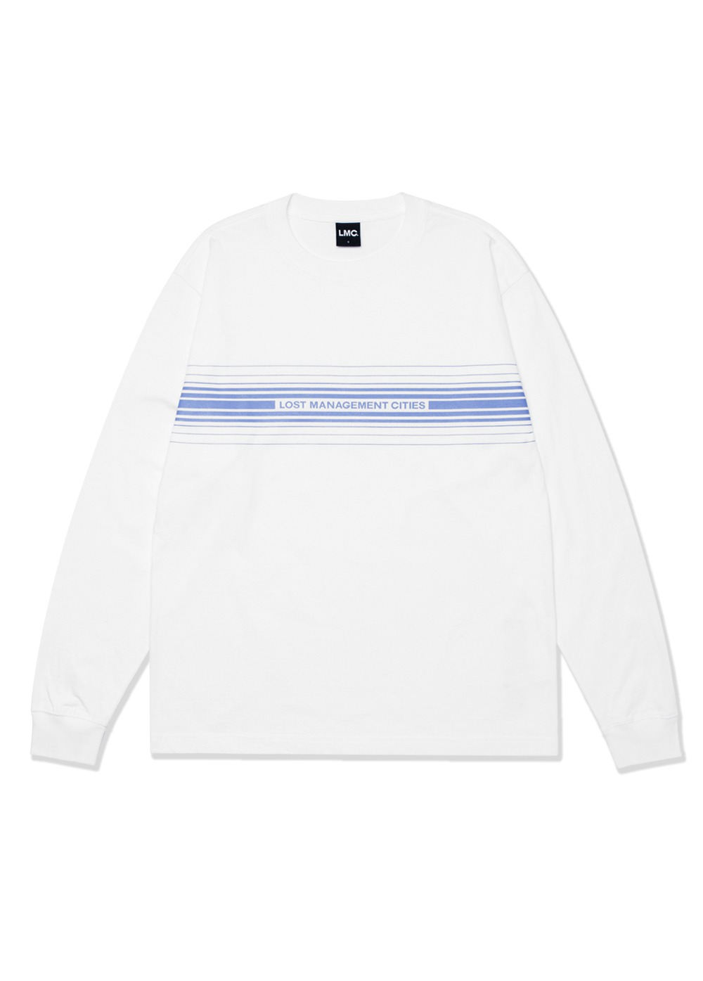 LMC MULTIPLE STRIPE LONG SLV TEE white
