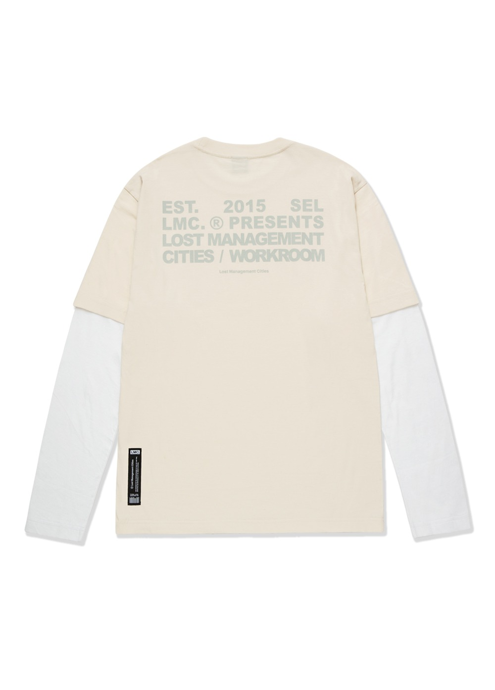 LMC WORKROOM LAYERED LONG SLV TEE cream