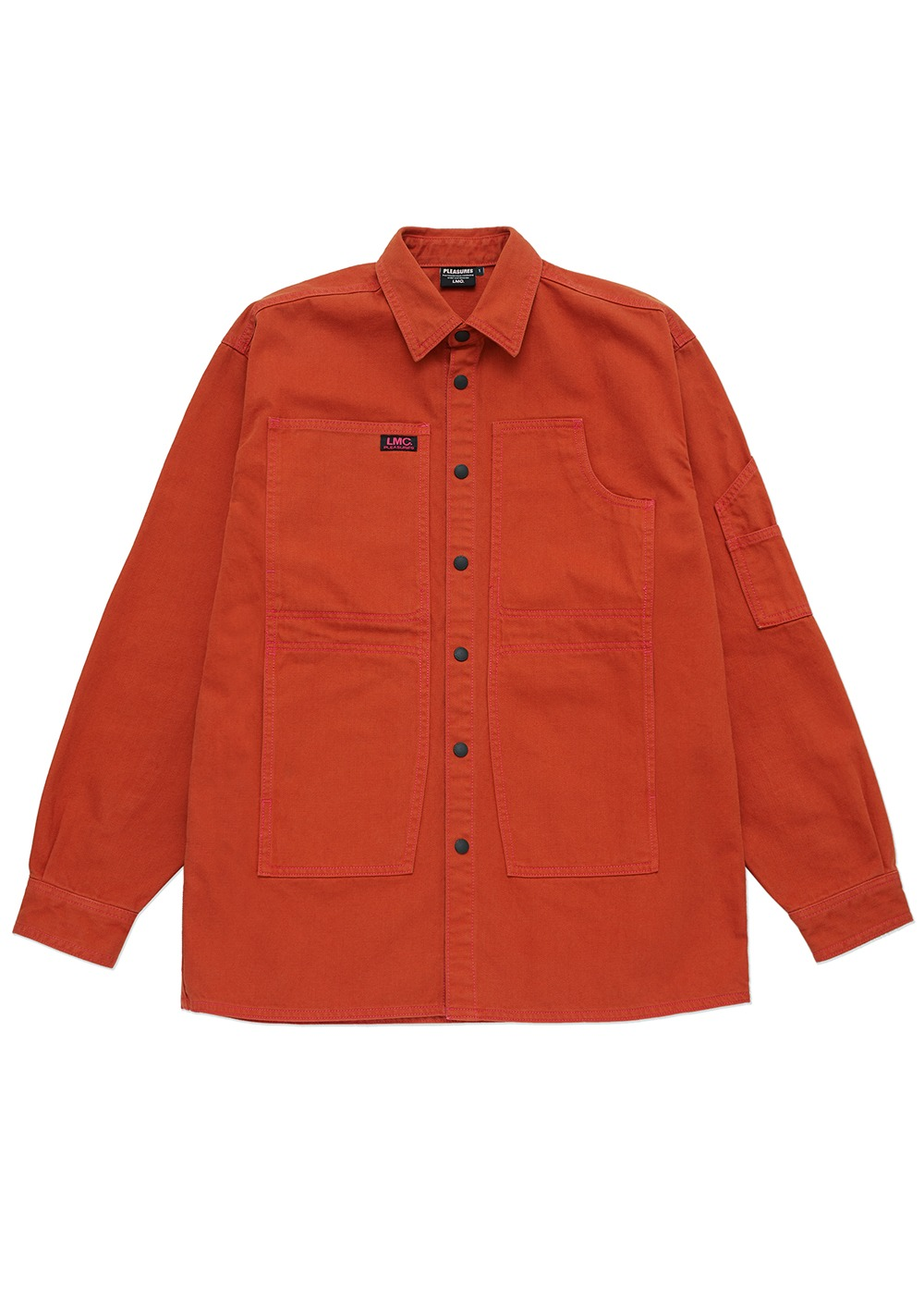 LMC X PLEASURES CRUSH DENIM SHIRT JACKET brick orange