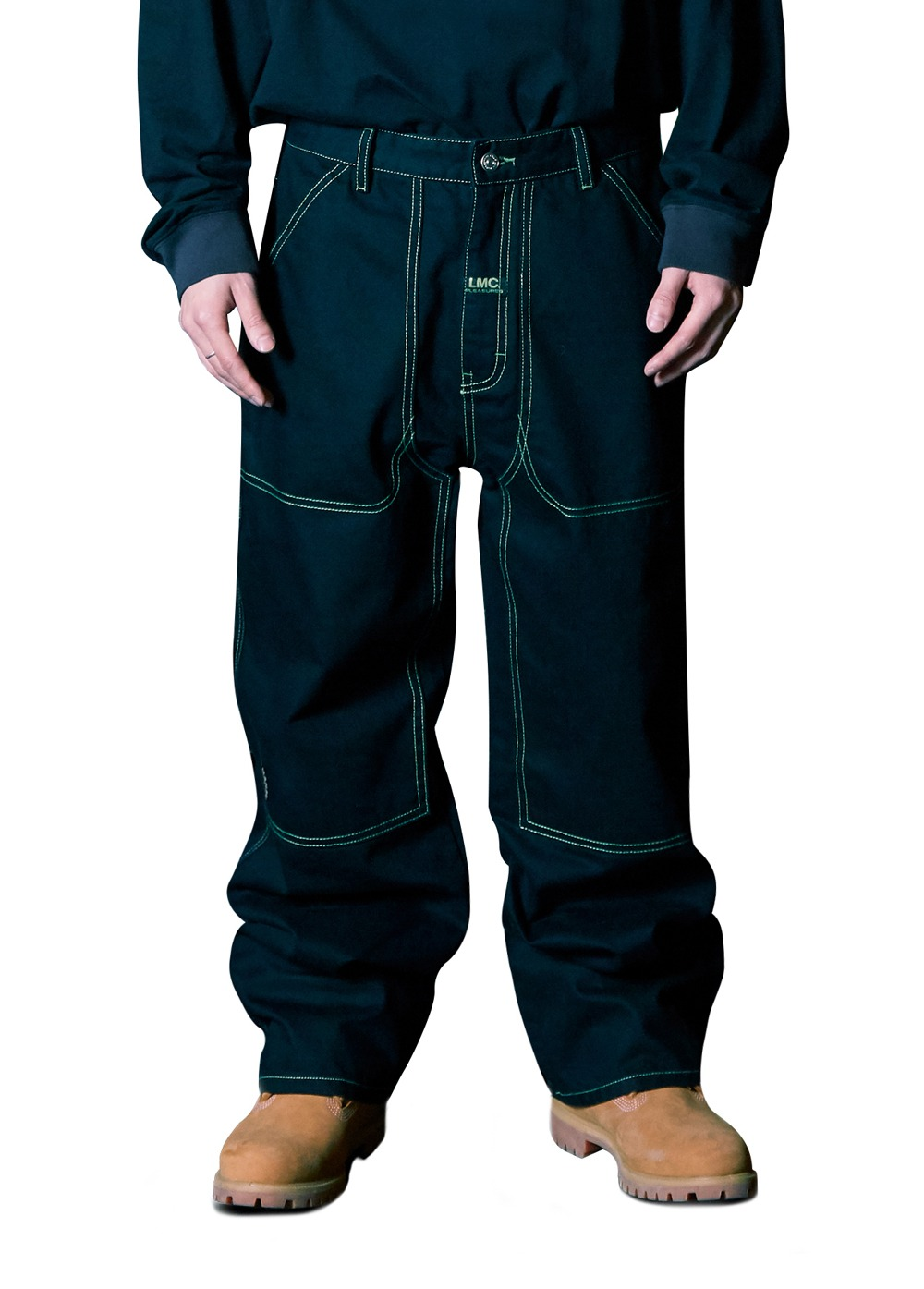 LMC X PLEASURES CRUSH CARPENTER DENIM PANTS black