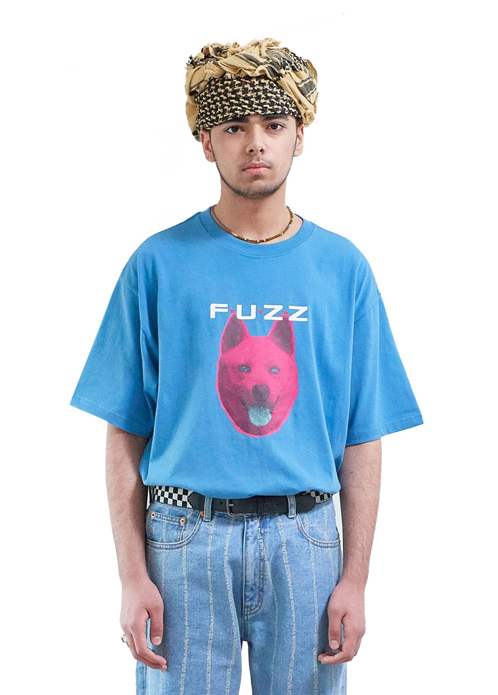 "FUZZ ""SHE WANTS TO MOVE"" S/S TEE pastel blue"