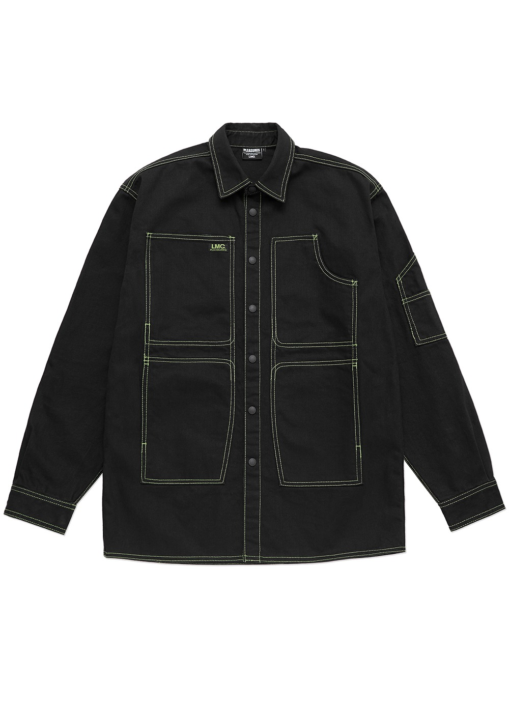 LMC X PLEASURES CRUSH DENIM SHIRT JACKET black