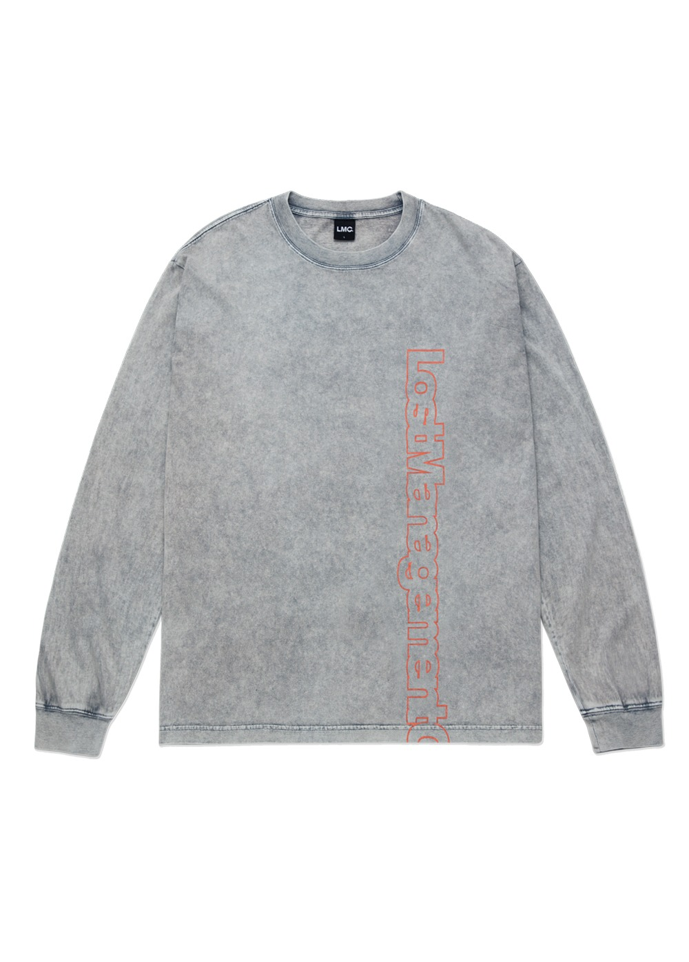 LMC ACID WASHED VERTICAL FN LONG SLV TEE gray