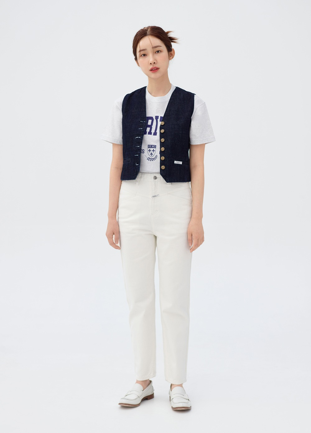 MARITHE X 차정원 W PEDAL PUSHER CROP DENIM off white