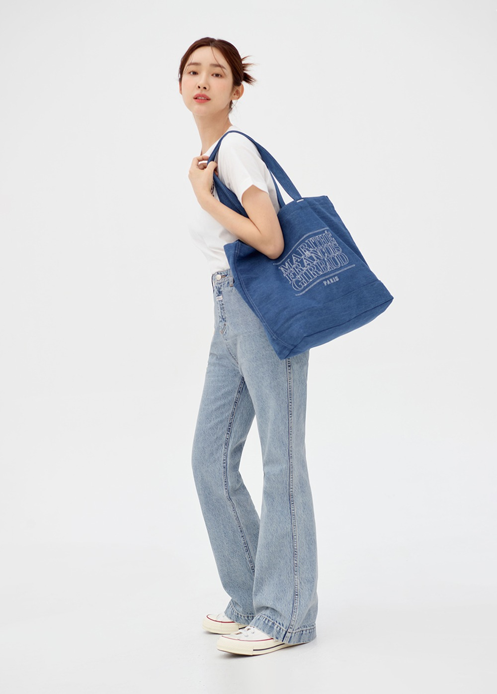 MARITHE LIGHT DENIM TOTE BAG blue